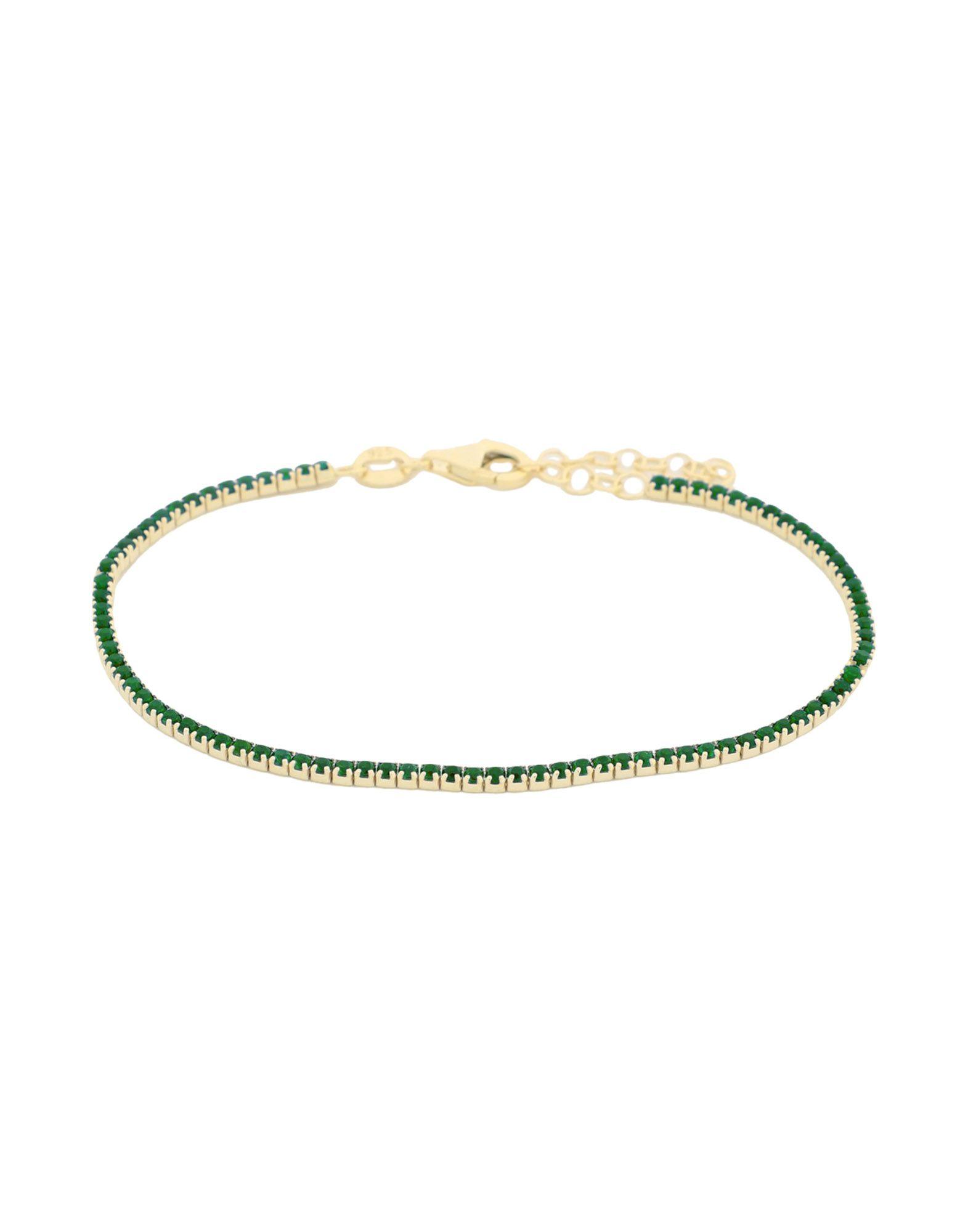 SPHERA MILANO Bracelets. rhinestones, adjustable hook and chain fastening. 925/1000 silver, 18kt Gold-plated