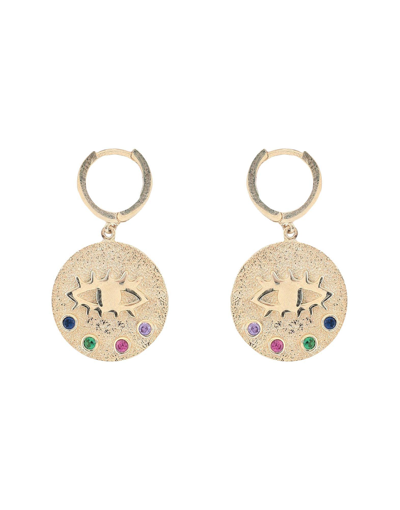 SPHERA MILANO Earrings. rhinestones, framed closure. 925/1000 silver, 18kt Gold-plated