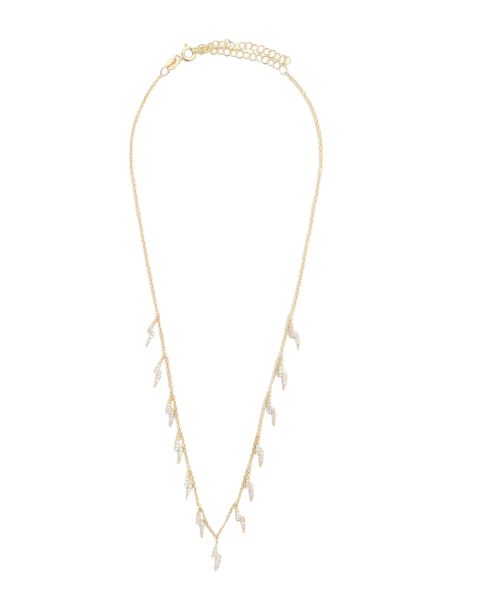 SPHERA MILANO Necklaces. adjustable hook and chain fastening, rhinestones. 925/1000 silver, 18kt Gold-plated
