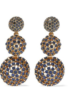 OSCAR DE LA RENTA Gold-tone crystal clip earrings
