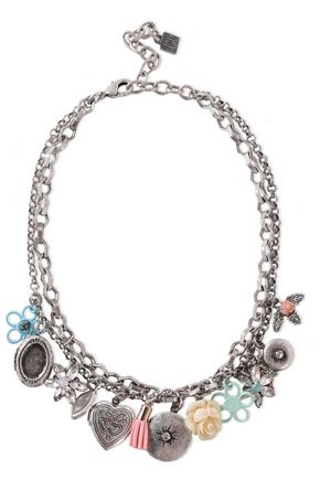 DANNIJO Amabella burnished silver-tone, crystal and resin necklace