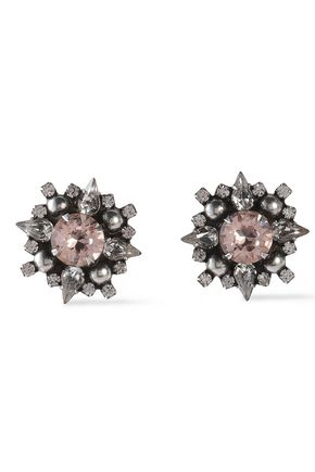 DANNIJO Gunmetal-tone crystal earrings
