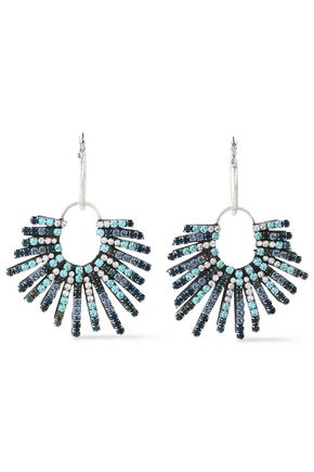 DANNIJO Kravis convertible oxidized silver-tone crystal earrings