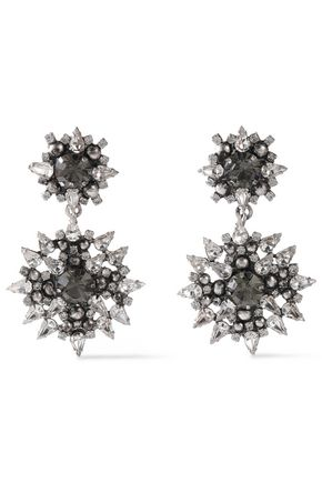 DANNIJO Alby silver and gunmetal-tone crystal earrings