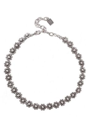 DANNIJO Silver and gunmetal-tone crystal necklace