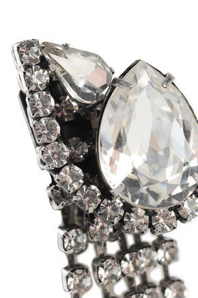 DANNIJO Kora silver-tone crystal clip earrings