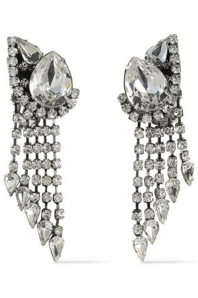 DANNIJO Kora silver-tone crystal clip earrings