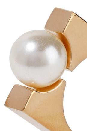 CHLOÉ Gold-tone faux pearl ring