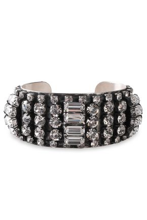 DANNIJO Burnished silver-tone crystal cuff