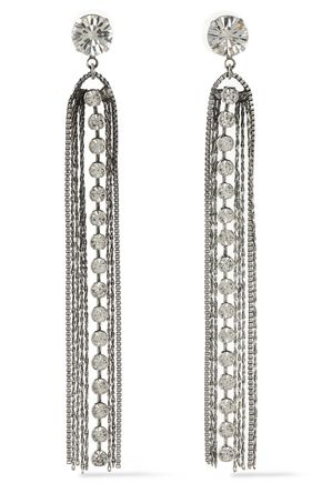 DANNIJO Burnished silver-tone crystal earrings