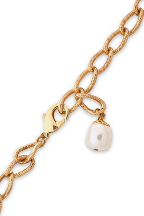 DOLCE & GABBANA Gold-tone, faux pearl and crystal necklace