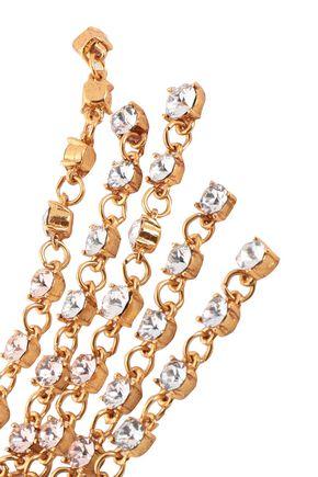 OSCAR DE LA RENTA Gunmetal-tone crystal clip earrings