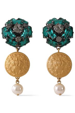 DOLCE & GABBANA Gunmetal and gold-tone, crystal and faux pearl clip earrings