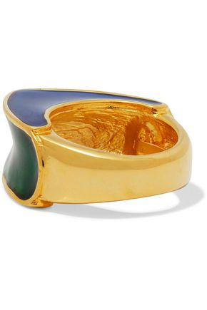 KENNETH JAY LANE Gold-plated color-block enamel ring