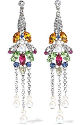 BEN-AMUN Silver-tone, Swarovski crystal and faux pearl earrings