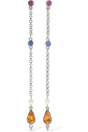 BEN-AMUN Silver-tone, crystal and faux pearl earrings