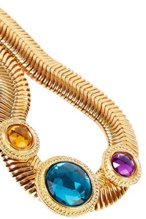 BEN-AMUN 24-karat gold-plated Swarovski crystal necklace