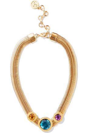 BEN-AMUN 24-karat gold-plated Swarovski crystal necklace