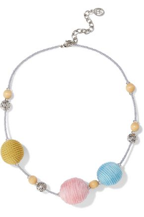 BEN-AMUN Silver-tone, bead and cord necklace