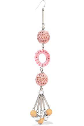 BEN-AMUN Silver-tone, bead and cord earrings