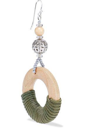 BEN-AMUN Silver-tone, bead, wood and cord earrings
