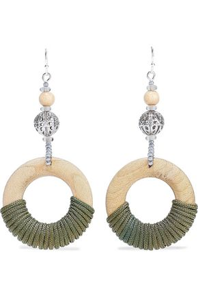 BEN-AMUN Silver-tone, bead, wood and cord earrings