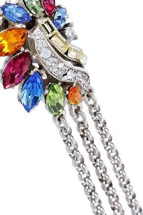 BEN-AMUN Silver-tone, Swarovski crystal and faux pearl clip earrings