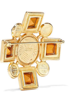 BEN-AMUN 24-karat gold-plated crystal brooch