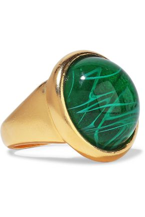 BEN-AMUN 24-karat gold-plated stone ring