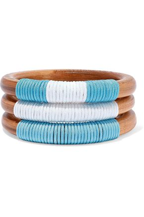 BEN-AMUN Set of 3 wood and cord bangles