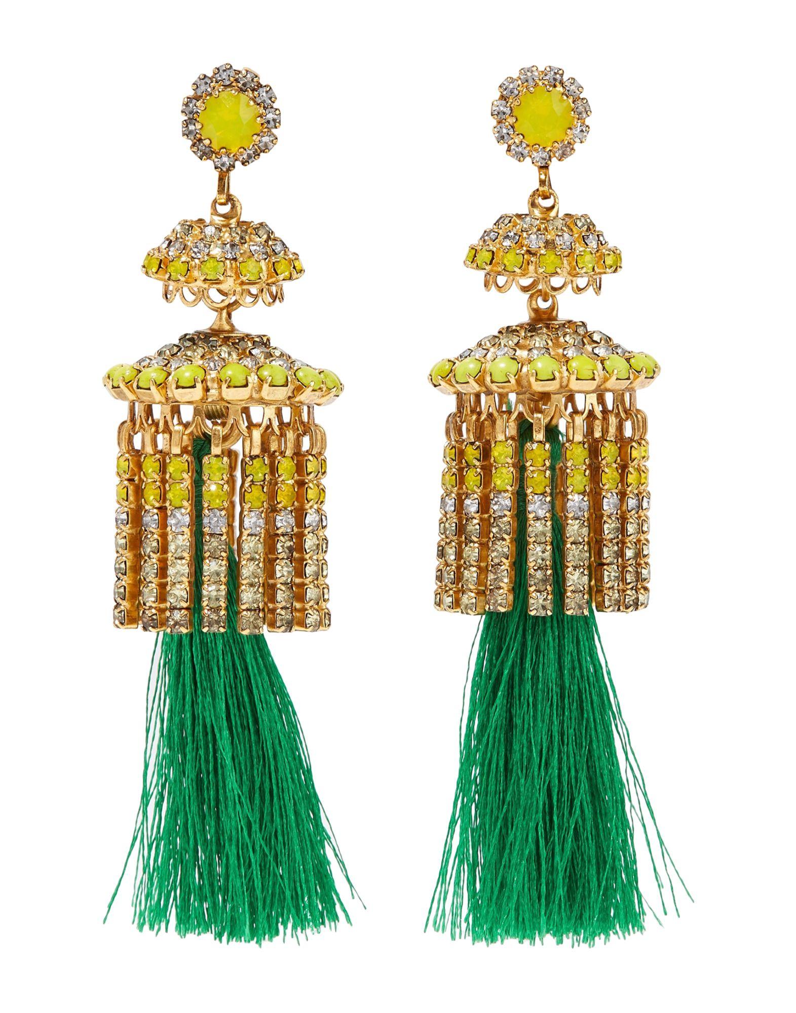 《セール開催中》ELIZABETH COLE レディース イヤリング グリーン 金属 / 紡績繊維