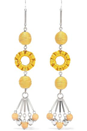 BEN-AMUN Silver-tone, bead and cord earrings