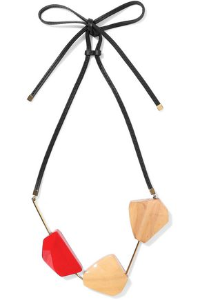 MARNI Gold-tone, wood and leather necklace