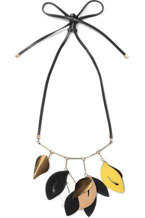 MARNI Gold-tone leather necklace
