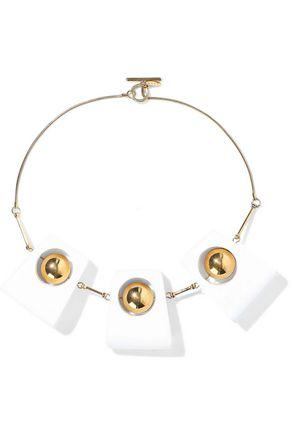 MARNI Gold-tone wood necklace