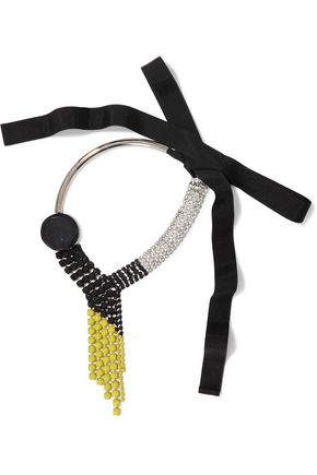 MARNI Silver-tone, crystal, acetate and grosgrain necklace