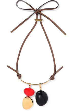 MARNI Gold-tone, leather and wood necklace