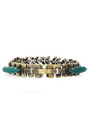 IOSSELLIANI Burnished gold-tone, agate and crystal bracelet