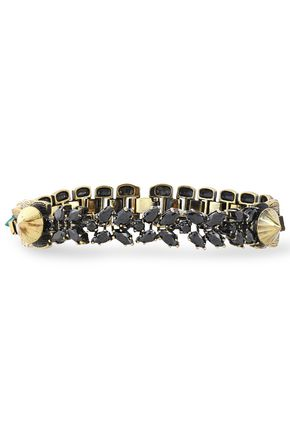 IOSSELLIANI Burnished gold-tone, agate and crystal bracelet