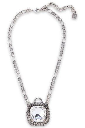 DANNIJO Oxidized silver-tone crystal necklace