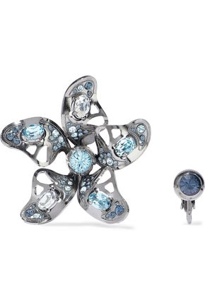 LANVIN Gunmetal-tone crystal clip earrings