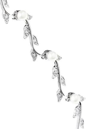 CZ by KENNETH JAY LANE Vine rhodium-plated, freshwater pearl and crystal necklace