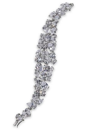 CZ by KENNETH JAY LANE Cluster rhodium-plated crystal bracelet