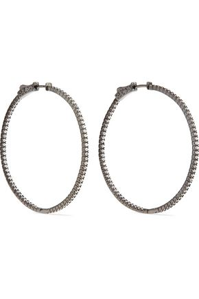 CZ by KENNETH JAY LANE Rhodium-plated crystal hoop earrings