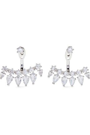 CZ by KENNETH JAY LANE Convertible rhodium-plated crystal earrings