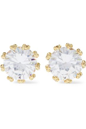 CZ by KENNETH JAY LANE Vintage 14-karat gold-plated crystal earrings