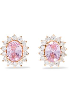 CZ by KENNETH JAY LANE Rose gold and rhodium-plated crystal earrings