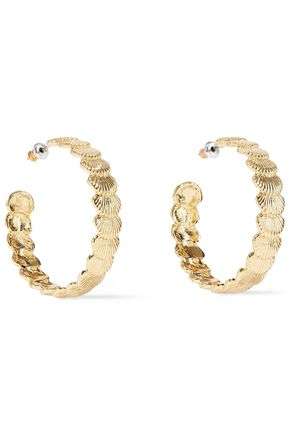 NOIR JEWELRY Clam Up 14-karat gold-plated hoop earrings