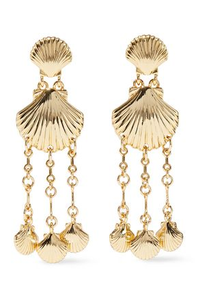 NOIR JEWELRY Clam Bake 14-karat gold-plated earrings