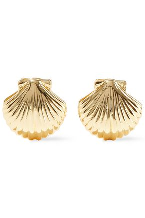 NOIR JEWELRY Happy As A Clam 14-karat gold-plated clip earrings